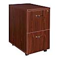 "Lorell® Essentials 22""D Vertical 2-Drawer Mobile Pedestal File Cabinet, Mahogany"