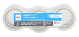 """Office Depot® Brand Heavy Duty Shipping Packing Tape,  1.89"""" x 54.6 Yd., Crystal Clear, Pack Of 3 Rolls"""