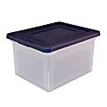 """Office Depot® Brand Letter And Legal File Tote, 18""""L x 14 1/4""""W x 10 7/8""""H, Clear/Blue"""
