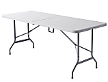 """Realspace® Molded Plastic Top Folding Table with Handles, 29""""H x 72""""W x 29-1/4""""D, Platinum/Charcoal"""