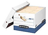 """Bankers Box® Presto™ Heavy-Duty Storage Boxes With Locking Lift-Off Lids And Built-In Handles, Letter/Legal Size, 15"""" x 12"""" x 10"""", 60% Recycled, White/Blue, Case Of 4"""