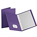 Oxford™ Twin-Pocket Portfolio With Fasteners, Purple, Pack Of 10