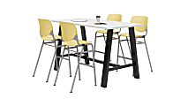 """KFI Midtown Bistro Table With 4 Stacking Chairs, 41""""H x 36""""W x 72""""D, Designer White/Yellow"""
