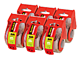 """Scotch® Sure Start Shipping Tape With Dispenser, 1-7/8"""" x 22.2 Yd., Clear, Pack Of 6 Rolls"""