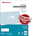 """Office Depot® Brand Inkjet/Laser Address Labels, White, 1"""" x 2 5/8"""", Pack Of 750"""