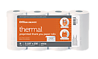 """Office Depot® Brand Thermal Preprinted """"Thank You"""" Paper Rolls, 3-1/8"""" x 230', White, Pack Of 8"""