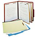 SJ Paper Classification Folders, 2 Dividers, 6 Partitions, 2/5 Cut, Letter Size, 30% Recycled, Red, Pack Of 15
