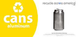 """Recycle Across America Aluminum Cans Standardized Recycling Labels, CANS-0409, 4"""" x 9"""", Yellow"""