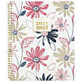 """AT-A-GLANCE® 13-Month Badge Floral Academic Weekly/Monthly Planner, 8-1/2"""" x 11"""", Multicolor, July 2021 To July 2022, 1535F-905A"""