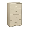 """basyx by HON® 400 30""""W Lateral 4-Drawer File Cabinet, Metal, Putty"""