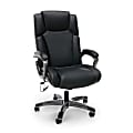 Essentials By OFM Bonded Leather Shiatsu Heated Massage High-Back Chair, Black