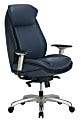 Shaquille O'Neal™ Zethus Ergonomic Bonded Leather High-Back Executive Chair, Navy/Silver
