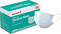 BYD Care Surgical Masks, Adult, One Size, Blue, Box Of 50 Masks