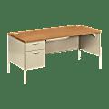HON® Metro Classic Left Pedestal Desk, Harvest/Putty