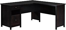 """Sauder® County Line 61""""W L-Shaped Office Desk With File Drawer, Estate Black"""