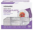 Highmark® Heavy-Duty Plastic Cutlery, Premium, Clear, Pack Of 150 Utensils