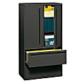 """HON® Brigade® 700 36""""W Lateral 2-Drawer Combo File Cabinet, Metal, Charcoal"""