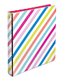 """Divoga® Binder, Sweet Smarts Collection, 1"""" Rings, Rainbow Stripes"""
