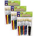 "Creativity Street Beginner Paint Brushes, 7-1/2"", Flat Stubby Brushes, Hog Bristles, Assorted Colors, 10 Brushes Per Pack, Case Of 3 Packs"