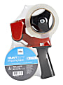 """Office Depot® Brand Heavy Duty Shipping Packing Tape With Tape Gun, 1.89"""" x 70.8 Yd, Crystal Clear, Pack Of 2 Rolls"""