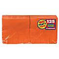 "Amscan 2-Ply Paper Beverage Napkins, 5"" x 5"", Orange Peel, 125 Napkins Per Party Pack, Set Of 3 Packs"