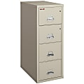 """FireKing® UL 1-Hour 31-5/8""""D Vertical 4-Drawer Legal-Size File Cabinet, Metal, Parchment, White Glove Delivery"""