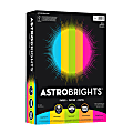 """Neenah Astrobrights® Bright Color Paper, Letter Size (8 1/2"""" x 11""""), 24 Lb, Assorted Mixed Colors, Ream Of 500 Sheets"""