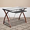 Flash Furniture Glass Computer Desk With Pull-Out Keyboard Tray, Cherry/Clear