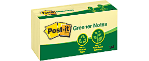 "Post-it® Greener Notes, 3"" x 3"", Canary Yellow, Pack Of 12 Pads"