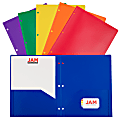 """JAM Paper® POP Plastic 3-Hole Punched 2-Pocket School Folders, 9-1/2"""" x 11-1/2"""", Assorted Primary, Pack Of 6 Folders"""