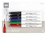 Office Depot® Brand Low-Odor Pen-Style Dry-Erase Markers, Fine Point, 100% Recycled, Assorted Colors, Pack Of 5
