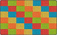 Flagship Carpets Basketweave Blocks Classroom Rug, 7 1/2' x 12', Multicolor