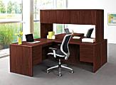 HON® 10700 Series™ Laminate Single-Pedestal Desk, Pedestal On Left, Mahogany