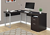 Monarch Specialties L-Shaped Computer Desk With 2 Drawers, Cappuccino