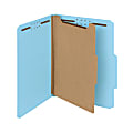 Smead® Pressboard Classification Folders, 1 Divider, Letter Size, 100% Recycled, Blue, Box Of 10