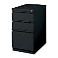 "Lorell® 19-7/8""D Vertical 3-Drawer Mobile Pedestal File Cabinet, Metal, Black"