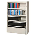 """Lorell® Fortress 42""""W Lateral 5-Drawer File Cabinet With Roll-Out Shelves, Metal, Putty"""