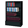"""Lorell® Fortress 42""""W Lateral 5-Drawer File Cabinet With Roll-Out Shelves, Metal, Black"""