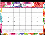 """Blue Sky™ Monthly Desk Pad, 17"""" x 22"""", Mahalo, July 2021 To June 2022, 100157"""