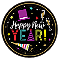 """Amscan Bright New Year's Eve Paper Plates, 9"""", Black, 60 Plates Per Pack, Case Of 2 Packs"""