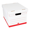 """Office Depot® Brand Standard-Duty Quick Set Up Corrugated Storage Boxes, Letter/Legal Size, 15"""" x 12"""" x 10"""", 60% Recycled, White/Red, Case Of 12"""