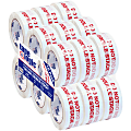 """Tape Logic® Do Not Double Stack Preprinted Carton Sealing Tape, 3"""" Core, 2"""" x 110 Yd., Red/White, Pack Of 18"""