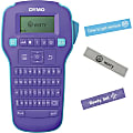 Dymo ColorPop Printer ComboPack - Thermal Transfer - 20 Text Style - Label - Battery, AC Supply - 6 Batteries Supported - AAA - Purple