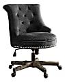Linon Home Décor Dallas Fabric Mid-Back Home Office Chair, Charcoal Gray/Dark Walnut