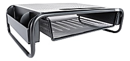 Allsop Organizer 5 Monitor Stand with Drawer, Pearl Black