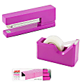 JAM Paper® 3-Piece Office Organizer Set, Fuchsia