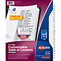 """Avery® A-Z Tab Dividers, 8-1/2"""" x 11"""", Black/White, Pack Of 26 Dividers"""