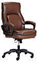 Shaquille O'Neal™ Amphion Ergonomic Bonded Leather High-Back Executive Chair, Brown/Black
