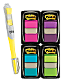 Post-it® Notes Flags, With Flag Highlighter, Assorted Bright Colors, 50 Flags Per Pad, Pack Of 4 Pads