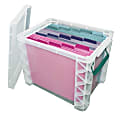 Super Stacker Plastic Storage Container With Built-In Handles And Snap Lid, 19 Liters, Clear/Sea Breeze